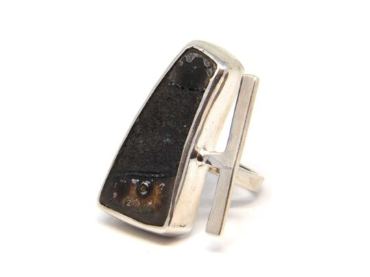 Hand made silver ring with stoneware 1100C