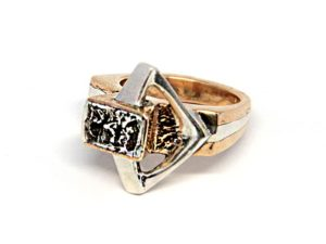 Silver and bronze unique ring